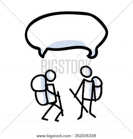Hiking Stick Figure Line Art Speech Bubble Icon. Carrying Backpack, Track Pole Group . Outdoor Leisu