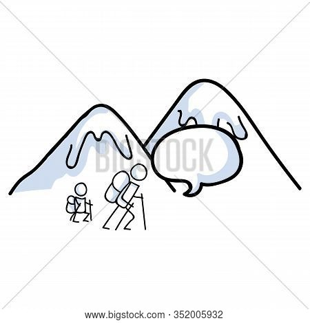 Hiking Stick Figure Line Art Icon With Speech Bubble. Carrying Backpack, Track Pole And Kidsclimbing