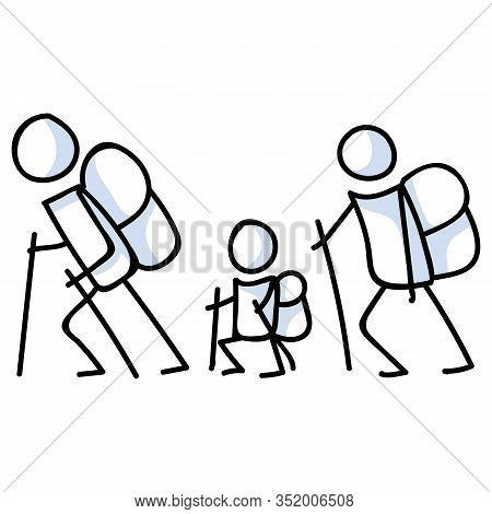 Hiking Stick Figure Line Art Icon. Carrying Backpack, Track Pole And Kids . Outdoor Leisure Walking,