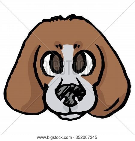 Cute Cartoon Foxhound Puppy Hunting Dog Face Vector Clipart. Pedigree Kennel Baby Doggie Breed For D