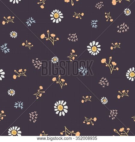 Winter Flower Daisy Motif On Dark Brown Background. Naive Ditsies Floral Petal Marguarite . Seamless