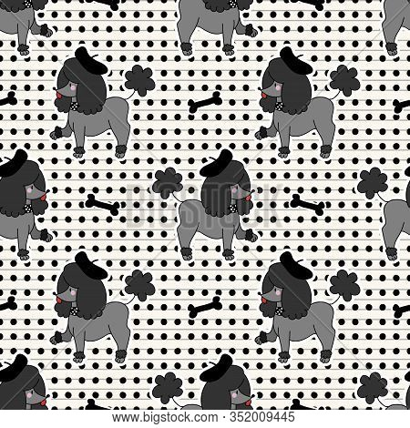 Cute Kawaii Black Poodle Puppy Dog With Bone Seamless Vector Pattern. Japanese Style Cartoon Smiling