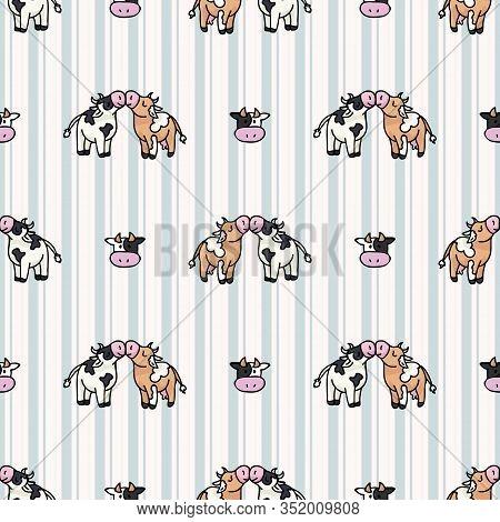 Hand Drawn Dairy Cute Cow Love Carton Seamless Vector Pattern. Kawaii Horned Livestock Mammal. Domes