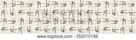 Mid Century Modern Vector Vintage Banner Background. Architectural Archway Trend Shape Pattern Edgin