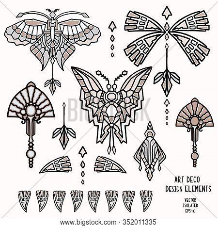 Vintage Art Deco Butterfly And Jewel Vector Motif Set. Stylised 1920s Style Geometric Design Element