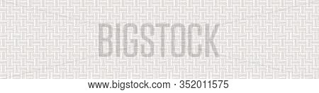 Cream Gray Vector French Linen Texture Banner Background. Old Ecru Flax Fibre Seamless Border Patter