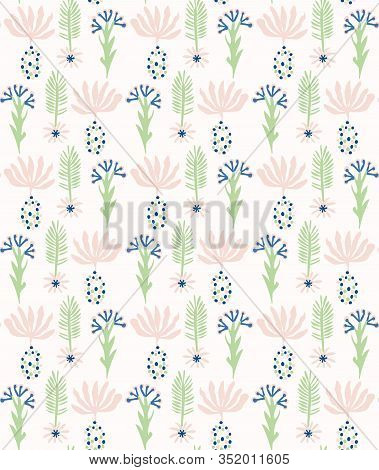 Paper Cut Out Flower Shapes Pattern. Seamless Summer Spring Background. Hand Drawn Style Collage Gra