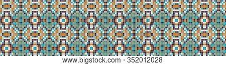 Portuguese Vector Azulejos Banner. Tiny Tiles Vintage Border Pattern Background. Colorful Pixel Grou