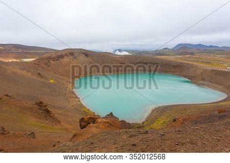 Viti Crater With Green Water Lake Inside. Krafla Viti Crater, Iceland