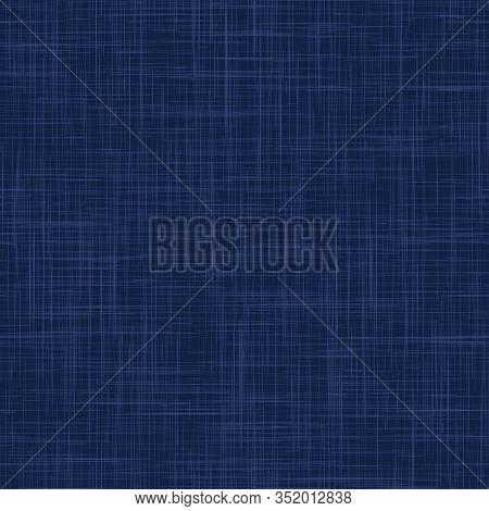 Classic Blue French Linen Texture Background. Dark Denim Blu Dye Fibre Seamless Pattern. Organic Yar