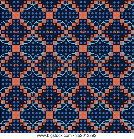 Classic Blue Floral Diamond Checl Symmetry Motif Background. Dark Abstract Flower Dot Mosaic Seamles