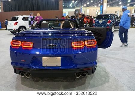 Philadelphia, Pennsylvania, U.s.a - February 9, 2020 - The Rear View Of The Brand New 2020 Chevy Cam