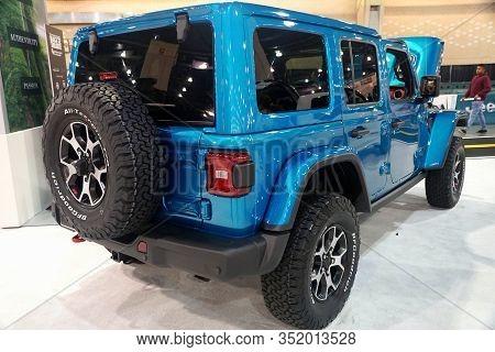 Philadelphia, Pennsylvania, U.s.a - February 9, 2020 - The Side View Of The 2020 Jeep Wrangler Unlim