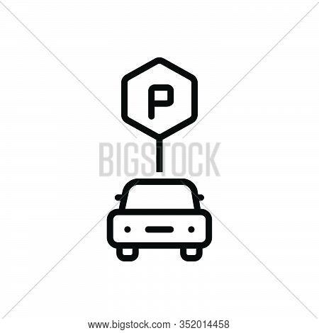 Black Line Icon For Parking-sign Haunt Roadsign Vehicle Sign-board Regulation Guidepost Place