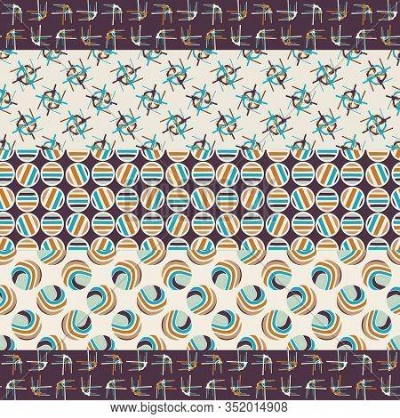 Mid Century Modern Vintage Pattern Background. Patchwork Quilt Masculine Graphic Design. Seamless St