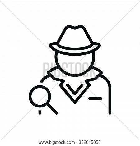 Black Line Icon For Detective  Investigator Agent Informer Private-eye Police-officer Prosecutor Rep