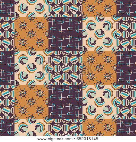 Mid Century Modern Vintage Pattern Background. Patchwork Quilt Masculine Graphic Design. Seamless Mo