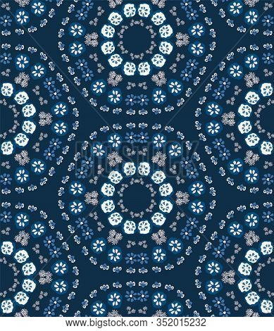 Classic Blue Daisy Floral Dotty Medallion Background. Liberty Style Millefleur Flower Seamless Patte