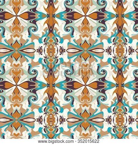 Arabesque Persian Style Vintage Pattern Background. Damask Swirl Scarf Graphic Design. Seamless Retr