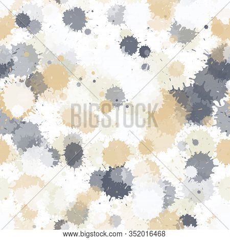 Paint Transparent Stains Vector Seamless Wallpaper Pattern. Colored Ink Splatter, Spray Blots, Mud S