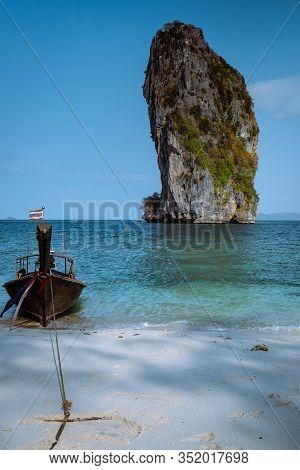 Koh Poda Island Krabi Thailand Asia, Beautiful White Beach And Clear Ocean In Thailand
