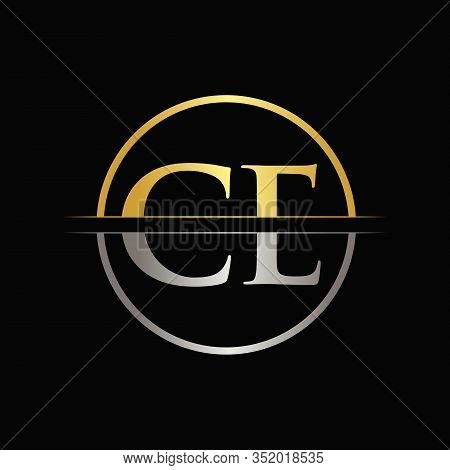 Initial Gold and Silver Color CE Letter Logo Typography Vector Template. Creative Abstract Letter CE Logo Design