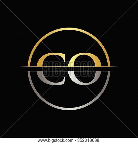 Initial Gold and Silver Color CO Letter Logo Typography Vector Template. Creative Abstract Letter CO Logo Design