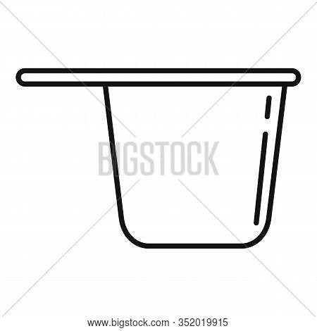 Plastic Tableware Pot Icon. Outline Plastic Tableware Pot Vector Icon For Web Design Isolated On Whi