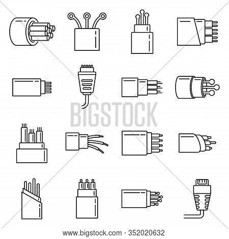 Modern Optical Fiber Icons Set. Outline Set Of Modern Optical Fiber Vector Icons For Web Design Isol
