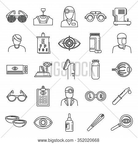 Medical Eye Examination Icons Set. Outline Set Of Medical Eye Examination Vector Icons For Web Desig