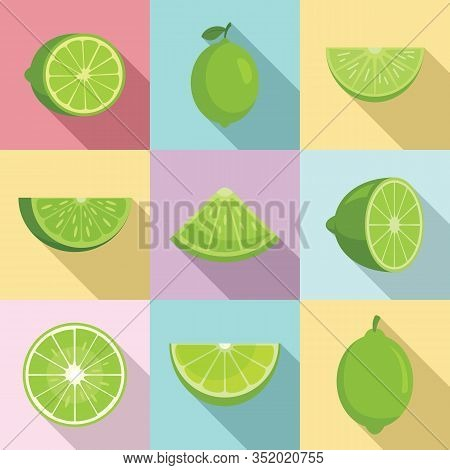 Lime Icons Set. Flat Set Of Lime Vector Icons For Web Design