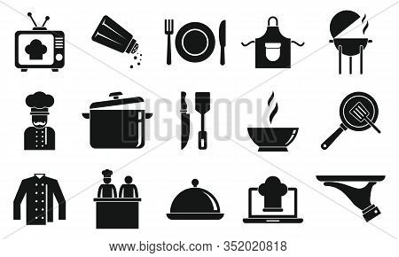 Cooking Show Icons Set. Simple Set Of Cooking Show Vector Icons For Web Design On White Background