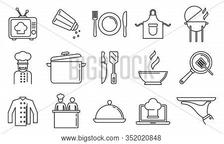 Cooking Show Bakery Icons Set. Outline Set Of Cooking Show Bakery Vector Icons For Web Design Isolat