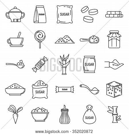 Sugar Cane Icons Set. Outline Set Of Sugar Cane Vector Icons For Web Design Isolated On White Backgr