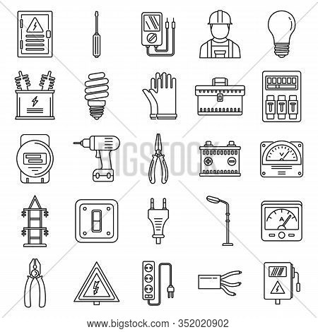 Safety Electrician Service Icons Set. Outline Set Of Safety Electrician Service Vector Icons For Web