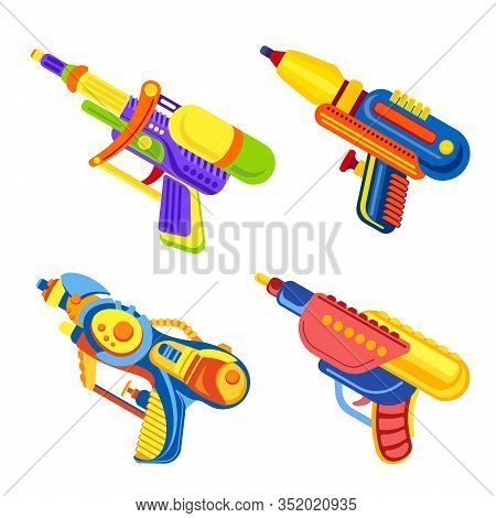 Squirt Gun Icons Set. Cartoon Set Of Squirt Gun Vector Icons For Web Design