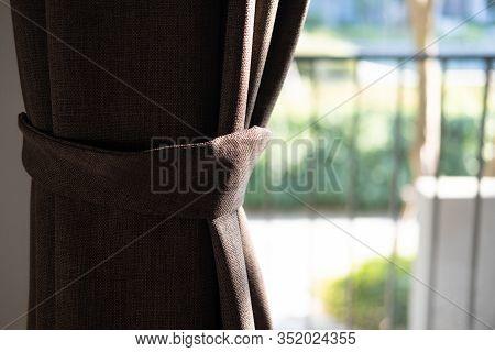 Brown Curtain. Holder For Room Curtains. Fragment Photo Curtain, Interior Detail, Curtain Detail. Se