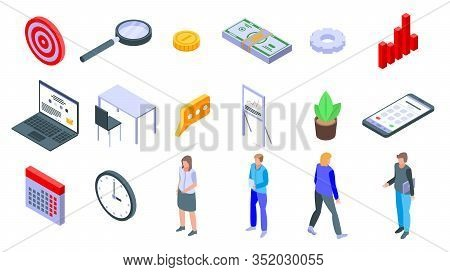 Account Manager Icons Set. Isometric Set Of Account Manager Vector Icons For Web Design Isolated On