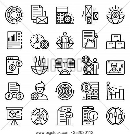 Estimator Icons Set. Outline Set Of Estimator Vector Icons For Web Design Isolated On White Backgrou