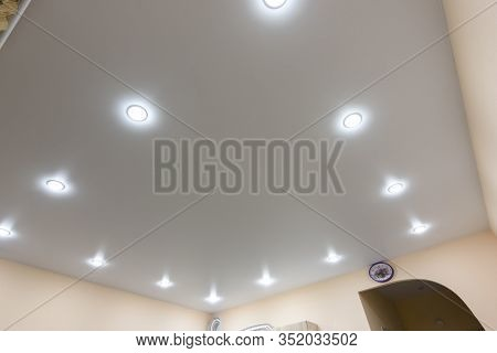 The General Plan Of The Stretch Ceiling Is Full Of Point Lamps Around The Perimeter