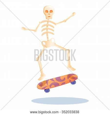 Skeleton Skateboard Icon. Cartoon Of Skeleton Skateboard Vector Icon For Web Design Isolated On Whit