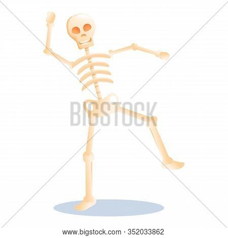 Happy Skeleton Icon. Cartoon Of Happy Skeleton Vector Icon For Web Design Isolated On White Backgrou