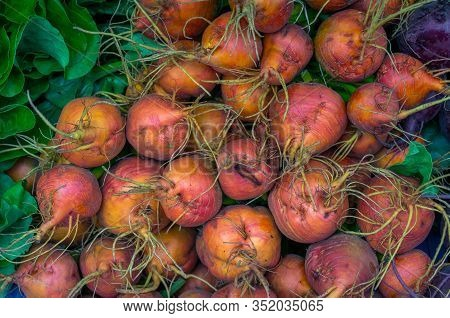 Beetroots Texture Background. Close Up Of Fresh Beets Vegetables