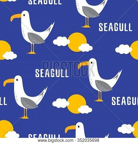 Seamless Pattern Of Cute Bird, Sun, Clouds And Lettering Seagull Isolated On Blue, Hand Drawn Vector