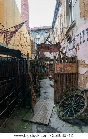 Prague, Czech Republic - May 26, 2018: Entrance To Restaurant Fort Racoon In Pilsen