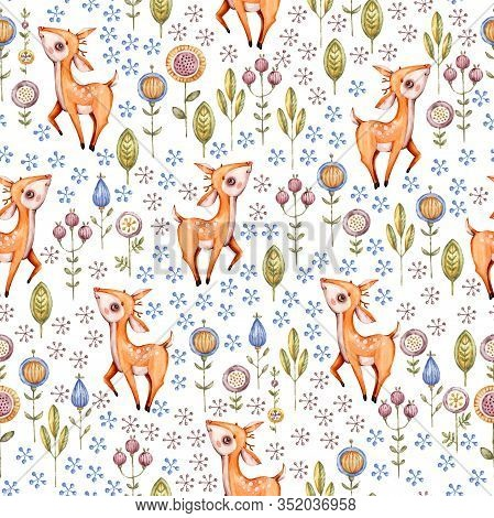 Woodland Nursery Watercolor Seamless Pattern, Great Design For Fabric, Wallpaper, Baby Shower, Birth