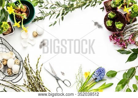 Florist Or Decorator Table Surface Overhead View, Easter Decoration Concept With Copy Space For A Te