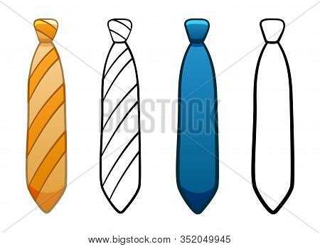 Necktie With Simple Knot In Four Variants Set On White Background
