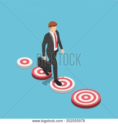 Flat 3d Isometric Businessman Walking To The Bigger Target. Business Target And Bigger Career Opport