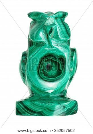Ornamental Texture Of Natural Malachite Rock In Typical Polished Figurine Of Owl Isolated On White B